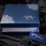 Box of Boxed Wedding Invitation in Blue with Raised Silver Leaves