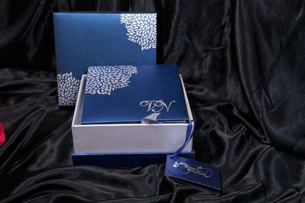 Boxed Wedding Invitation in Blue with Raised Silver Leaves