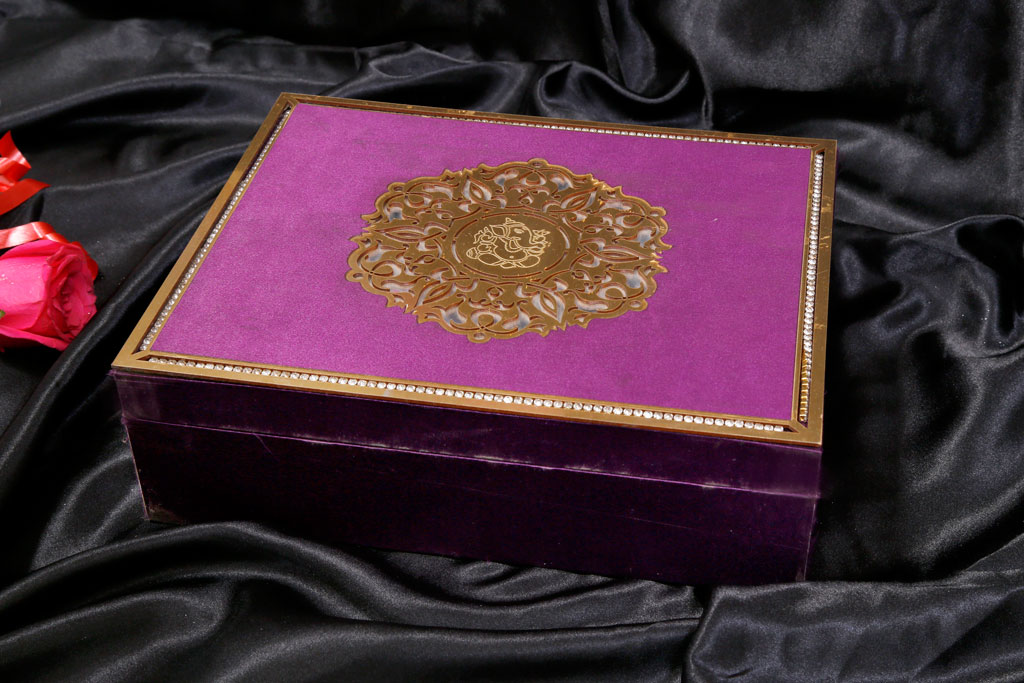 Box Wedding Card in Super Indigo with Golden Mirror Frame