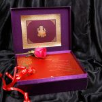 Box inside of Box Wedding Card in Super Indigo with Golden Mirror Frame
