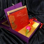 Insert1 of Box Wedding Card in Super Indigo with Golden Mirror Frame