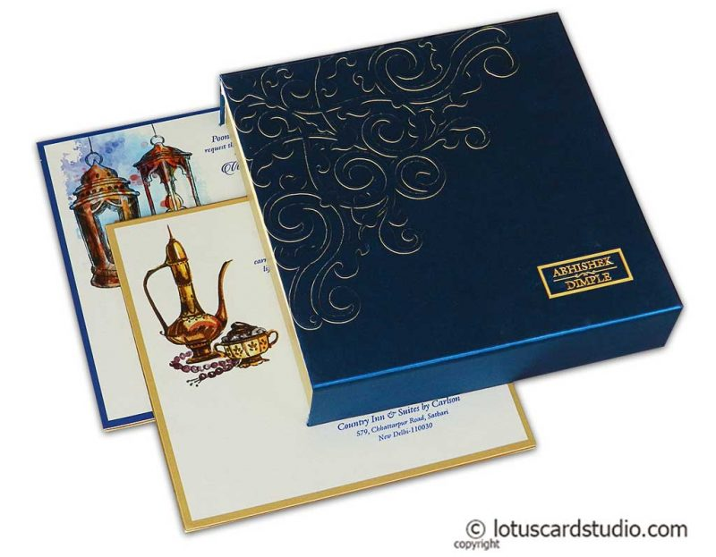 Blue Satin Box Wedding Card with Laser Cut Floral Design and Metallic Names