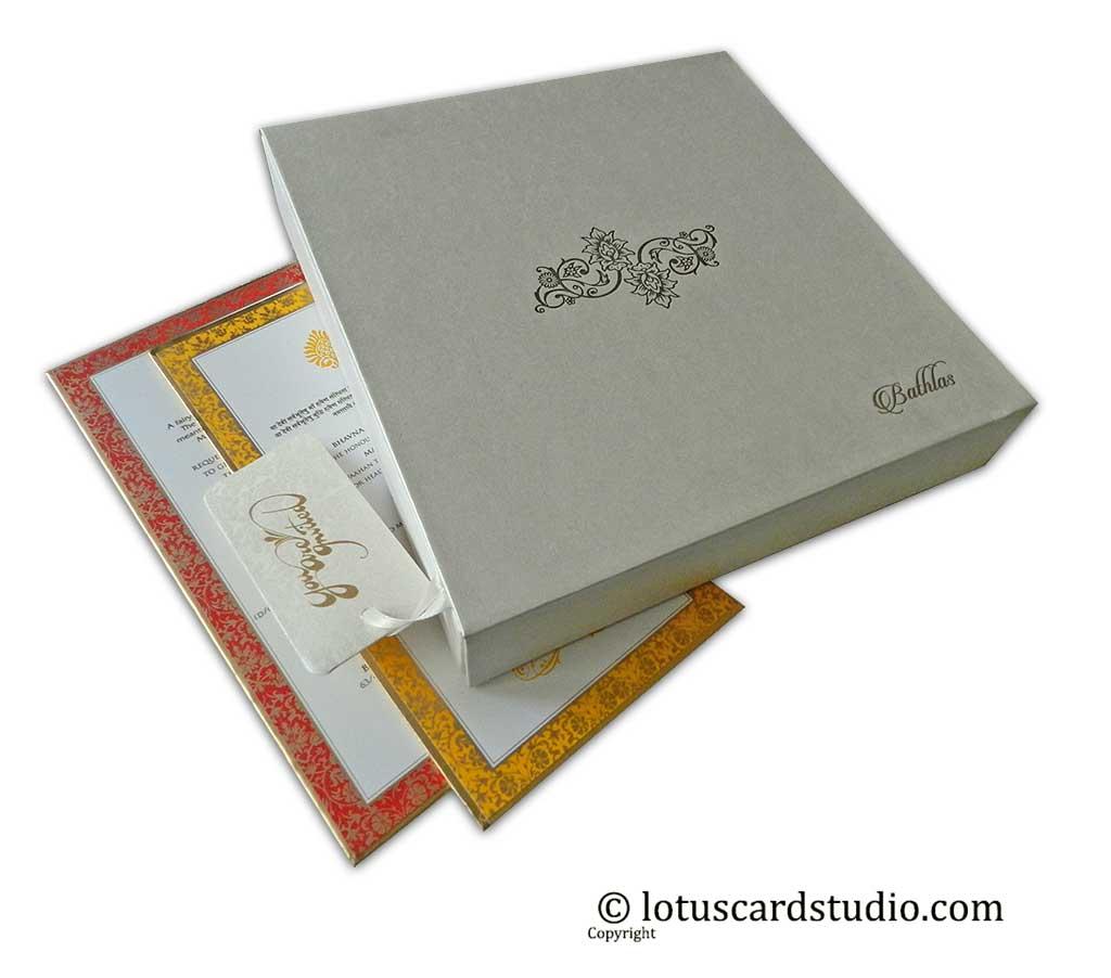 Box Wedding Invitation in Ivory Floral Design