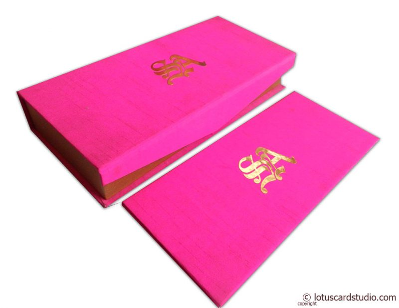 Boxed Wedding Card in Mexican Pink