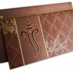 Brown Shimmer Indian Wedding Card with Ganesh