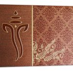 Card of Brown Shimmer Indian Wedding Card with Ganesh