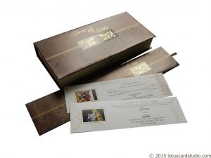 Brown Shine Theme Indian Wedding Card