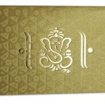 Card of Florescent Golden Wedding Invitation Card