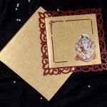 Ganesha Laser Cut Hindu Wedding Card in Golden Red