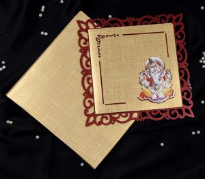 Ganesha Laser Cut Hindu Wedding Card in Golden Red