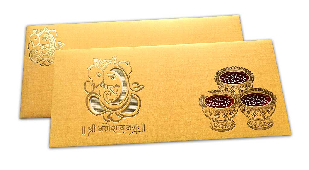 Ganesha Wedding Card in Yellow Orangish Shimmer