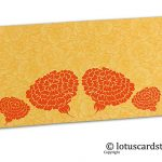 Golden Beige Flower Flocked Money Envelope with Orange Dahlia Flowers