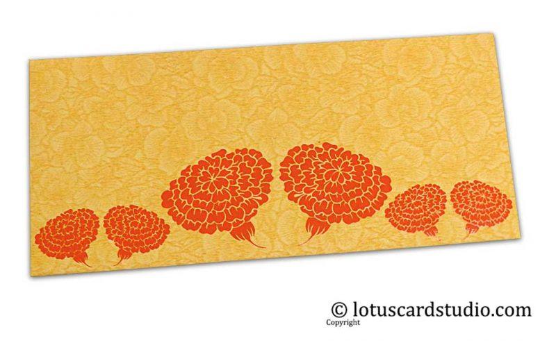 Golden Beige Flower Flocked Money Envelope with Orange Dahlia Flowers