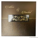 Card of Golden Brown Metallic Wedding Card