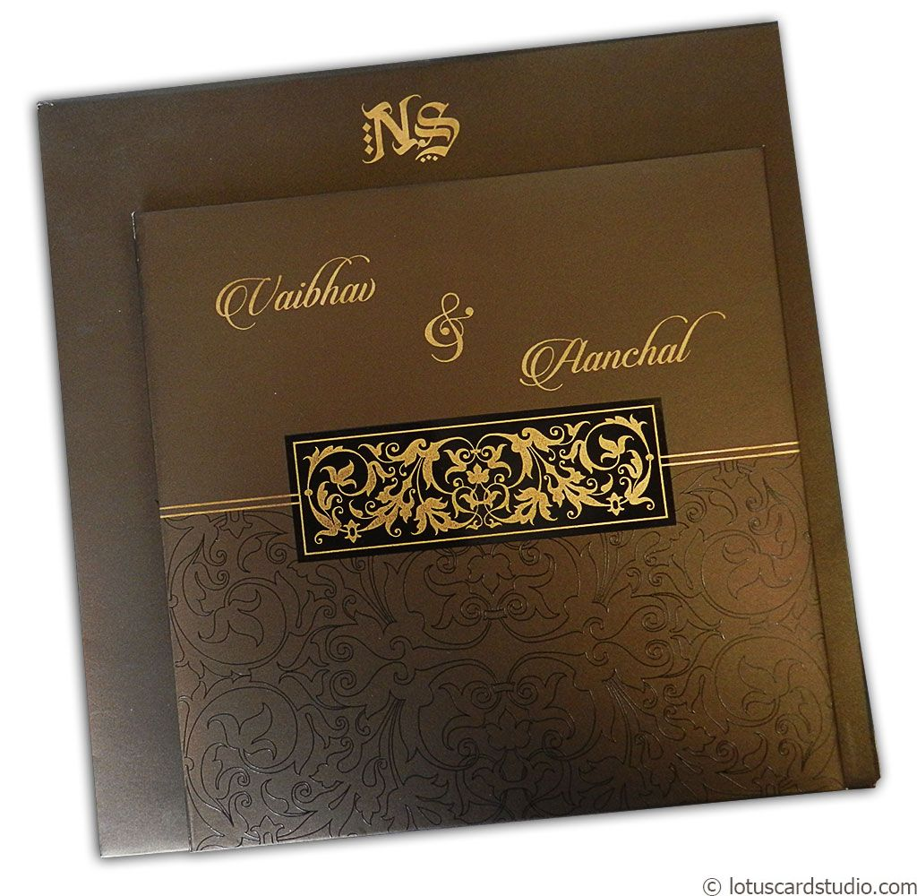 Golden Brown Metallic Wedding Card