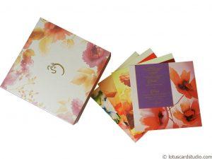 Golden Pink Boxed Wedding Invitation Card