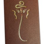 Card of Handmade Wedding Card in Saffron and Shimmer Brown