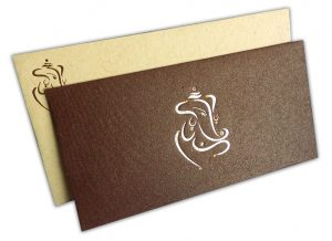 Handmade Wedding Invitation in Saffron and Shimmer Brown