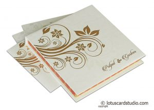 Ivory Boxed Wedding Invitation in Golden Floral Design