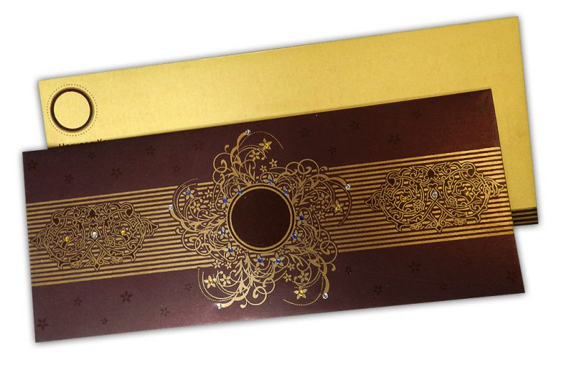 Lavish Golden Brown Wedding Invitation