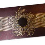 Card front of Lavish Golden Brown Wedding Invitation