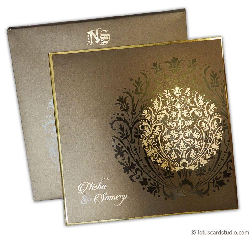 Metallic Crown Wedding Invitation Card