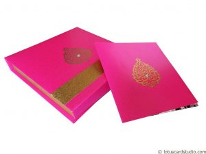 Pink Golden Theme Boxed Wedding Card