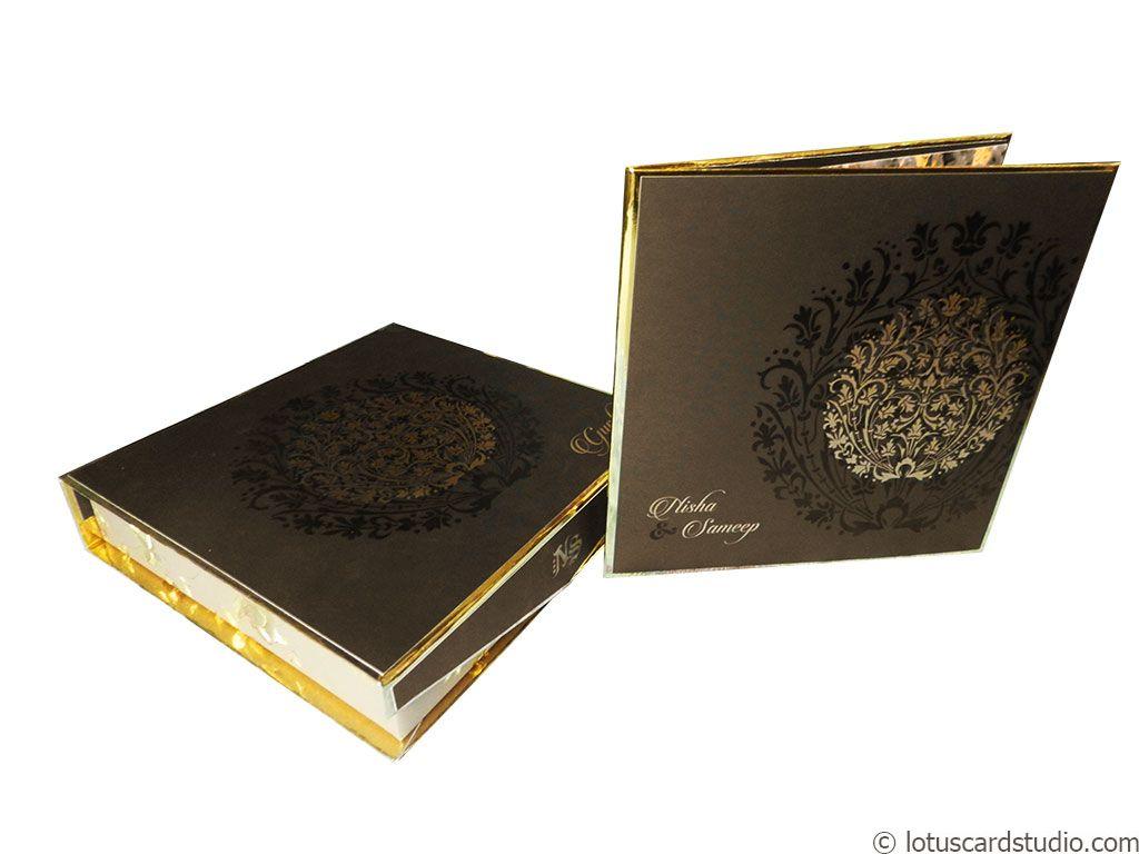 Pure Golden Brown Boxed Wedding Invite