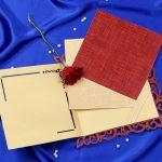 Inserts of Radha Krishna Laser Cut Wedding Card in Golden Red