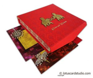 Red Satin Box Wedding Card with Golden Laser Cut Wooden Elephants