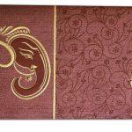 Card of Reddish Brown Ganesh Indian Wedding Card