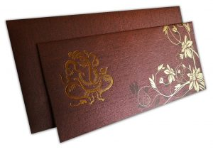 Reddish Brown Ganesh Indian Wedding Invitation