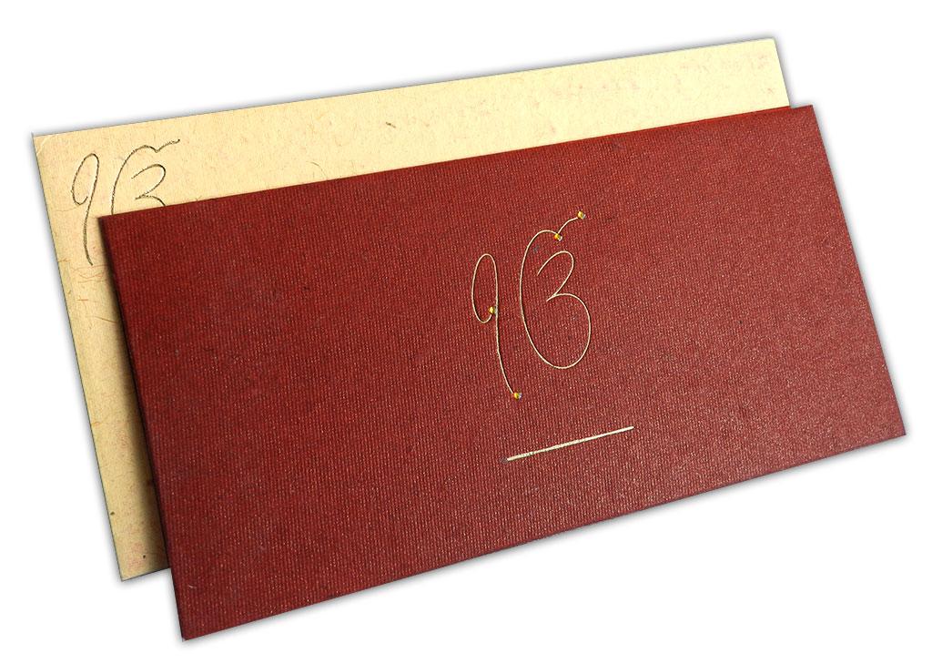 Saffron and Maroon Handmade Wedding Card