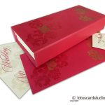 Box Wedding Card in Rose Pink with Golden Floral Design
