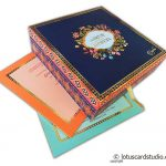 Traditional Design Boxed Wedding Invitation in Blue