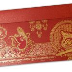 Venetian Red Glitter Wedding Card