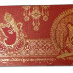 Card front of Venetian Red Glitter Wedding Card