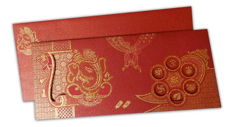 Venetian Red Glitter Wedding Invitation