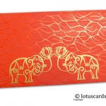 Vibrant Foil Metallic Orange Money Envelope with Golden Elephants