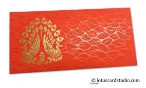Vibrant Foil Metallic Orange Money Envelope with Golden Peacocks