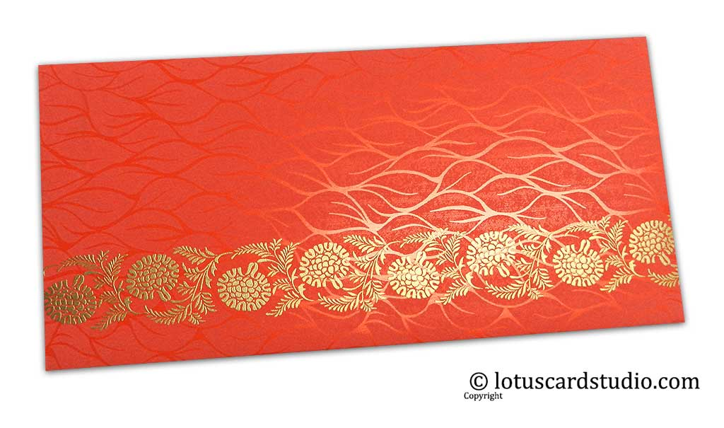 Vibrant Foil Metallic Orange Shagun Envelope with Golden Floral Vine