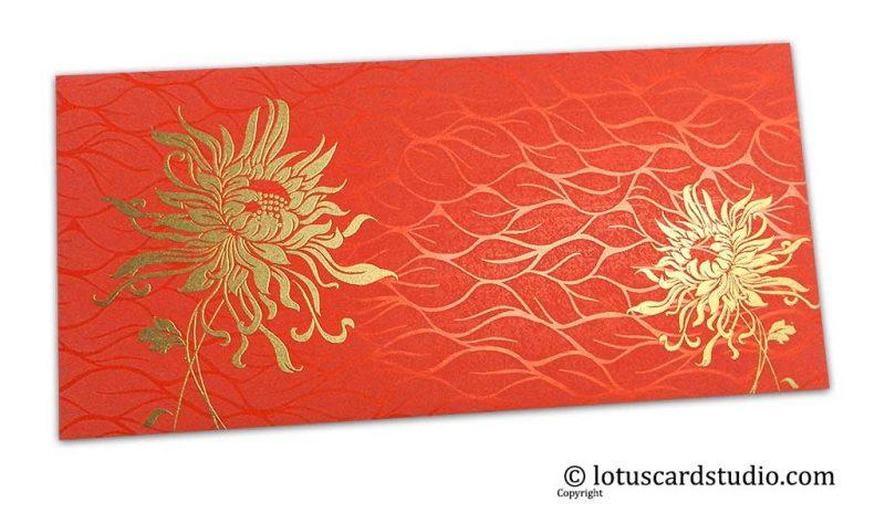Vibrant Foil Metallic Orange Shagun Envelope with Golden Spider Flower
