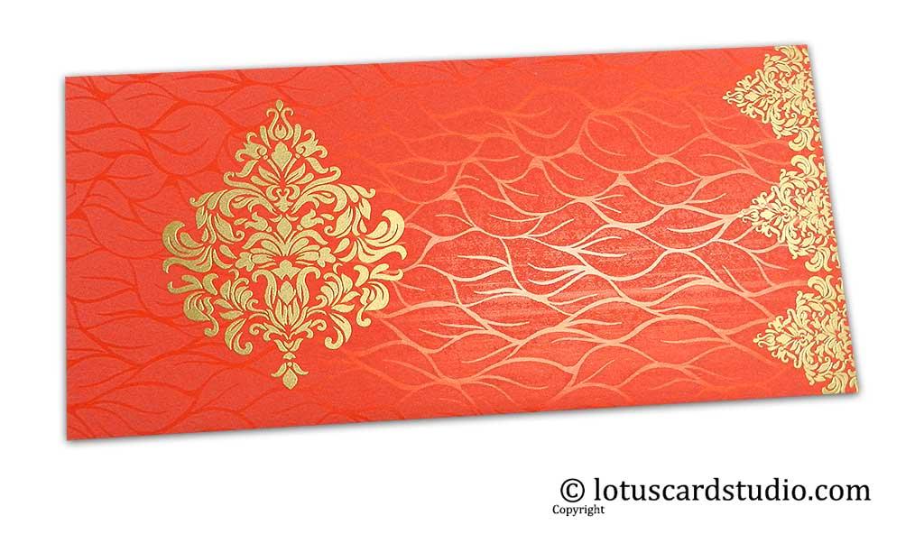 Vibrant Foil Metallic Orange Shagun Envelope with Golden Victorian Floral