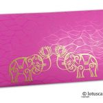 Vibrant Foil Metallic Pink Money Envelope with Golden Elephants