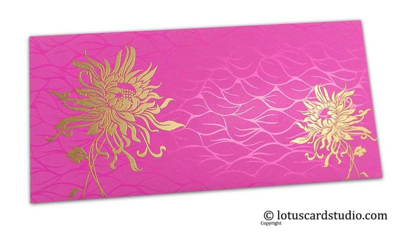 Vibrant Foil Metallic Pink Shagun Envelope with Golden Spider Flower