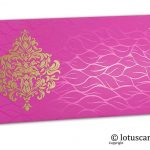 Vibrant Foil Metallic Pink Shagun Envelope with Golden Victorian Floral