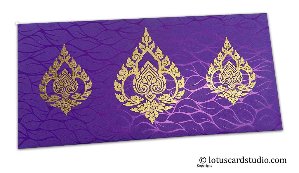 Vibrant Foil Metallic Purple Money Envelope with Golden Damasks
