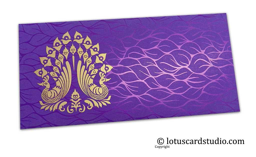 Vibrant Foil Metallic Purple Money Envelope with Golden Peacocks