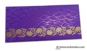 Vibrant Foil Metallic Purple Shagun Envelope with Golden Floral Vine