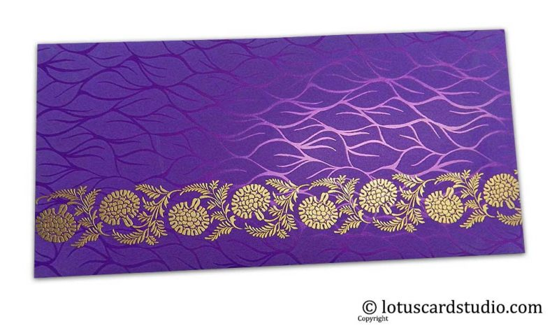 Vibrant Foil Metallic Purple Shagun Envelope with Golden Floral Vine